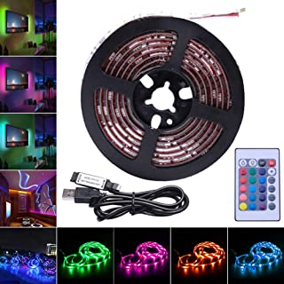 AVAWAY RGB LED Strip Lights, USB Powered SMD 5050 LED Light Strips with 24 Keys Remote Control for TV Background Lighting PC Notebook Home Decoration - 78inches/2M