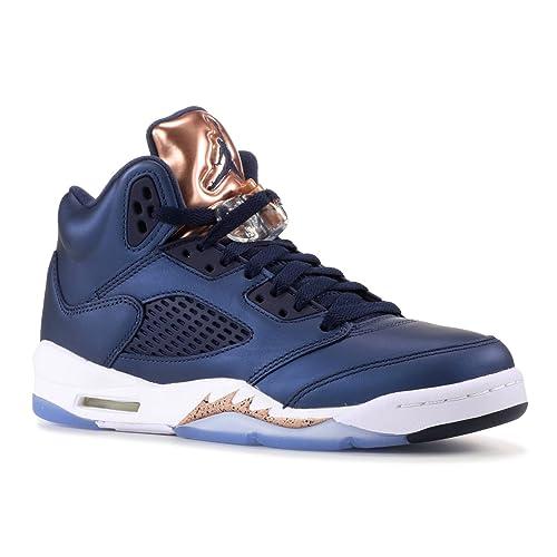 buy popular fb579 33dc3 NIKE Boys Jordan 5 Retro BP Bronze Medal Obsidian White-Bronze Leather Size  3.5