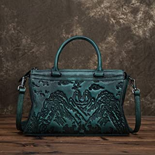 Fashion Chinese Style Hand-Brushed Female Bag/First Layer Cowhide Landscape Painting Embossed Head/Shoulder Diagonal Ladies Handbag (Color : Green)