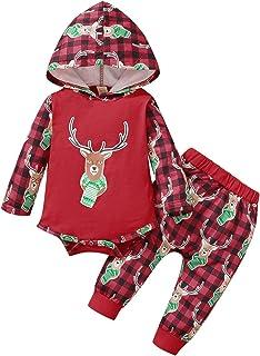 الرضع طفل بنين بنات عيد الميلاد الغزلان المطبوعة منقوشة هوديي رومبير ارتداءها + السراويل تتسابق 0-24 متر (Color : Red, Siz...
