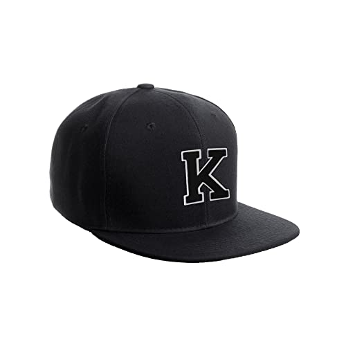 Classic Snapback Hat w Custom A-Z Initial Raised Letters - Black Hat White  Black 4dbc894e55b7