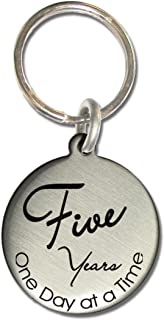 Serenity is Forever 5 Year Vintage Style AA Alcoholics Anonymous NA Narcotics Anonymous Clean and Sober Birthday Medallion Keychain