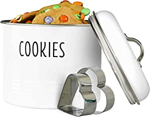 Outshine White Farmhouse Cookie Jar with 2 Heart-Shaped Cookie Cutters   Airtight Food Storage Container for Cookies, Biscuits, Snacks   Gift for Housewarming, Birthday, Wedding, Christmas