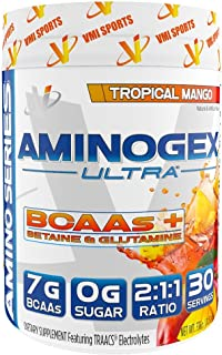 VMI Sports, Aminogex Ultra BCAA Powder, Tropical Mango, 30 Servings, Branched Chain Amino Acids Powder for Endurance & Muscle Recovery, Pre- or Post-Workout Supplement for Muscle Building