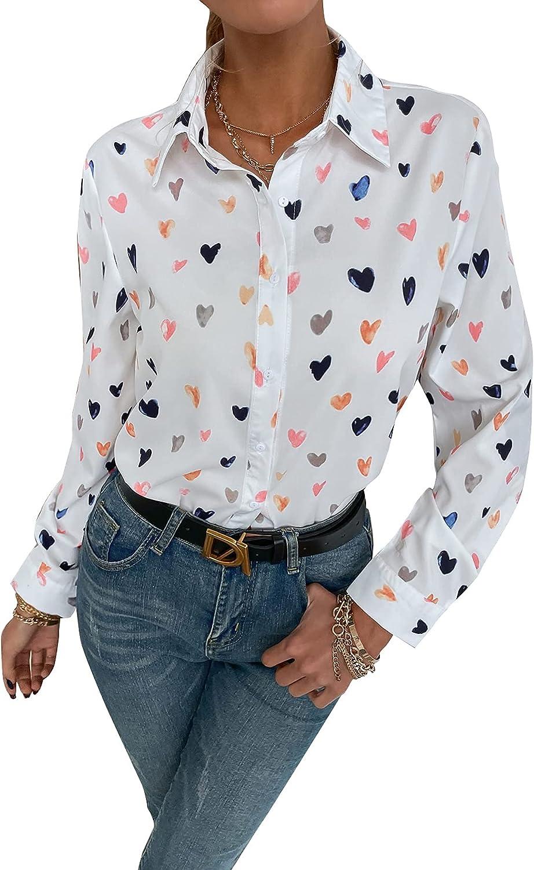 Floerns Women's Colorblock Long Sleeve Button Down Shirt Blouse Tops