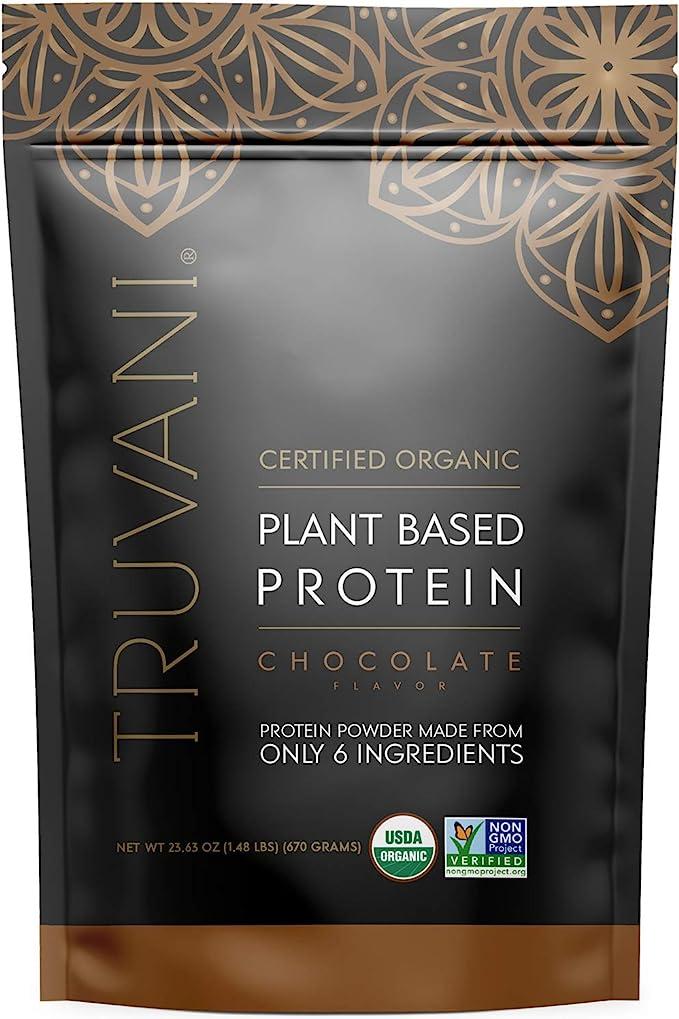 TRUVANI Plant Based Protein Powder | USDA Certified | Organic Protein Powder | Vegan, Non-GMO, Gluten Free Protein Powder | Perfect for Rebuilding & Refuelling Muscles | 20 Servings - Chocolate