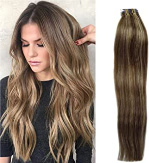 Tape in Hair Extensions Remy Human Hair Brown to Blonde Highlights 30grams/20pcs Seamless Skin Weft Blond Balayage Tape Hair Extensions, 16