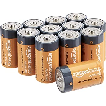 AmazonBasics D Cell 1.5 Volt Everyday Alkaline Batteries - Pack of 12
