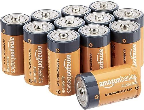 Amazon Basics Piles alcalines D 1,5V pour le quotidien - Lot de 12 (le visuel peut différer)