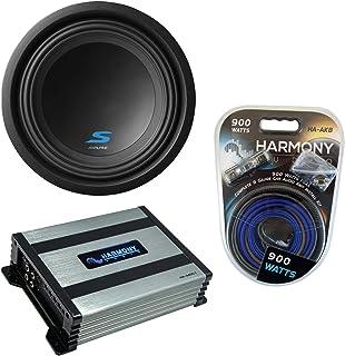 "$219 » Alpine S-W10D4 Car Audio Type S Series Sub 1200W Peak 10"" Subwoofer Bundle with Harmony HA-A400.1 Amplifier & Amp Kit"