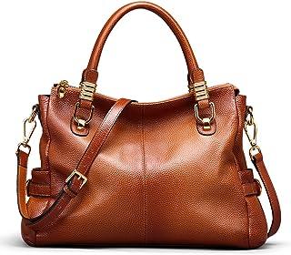 AINIMOER Womens Genuine Leather Vintage Tote Shoulder Bag Top-handle Crossbody Handbags Large Capacity Ladies' Purse