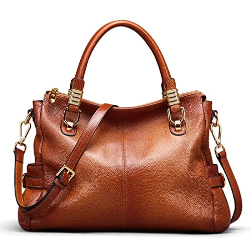 848d6fd58209 AINIMOER Womens Genuine Leather Vintage Tote Shoulder Bag Top-handle  Crossbody Handbags Large Capacity Ladies