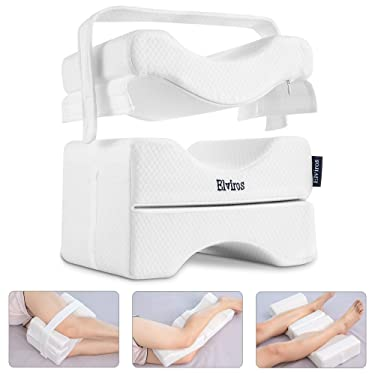 Elviros Memory Foam Knee Pillow with Strap, Leg Positioner Pillow for Side Sleepers, Between leg Pillows for Pregnancy Sciatica Relief, Back, Leg, Hip, and Joint Pain