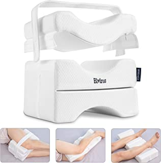 Elviros Knee Pillow for Side Sleepers, Orthopedic Memory Foam Wedge Contour Leg Pillow, Multi Position Use for Pregnancy, ...