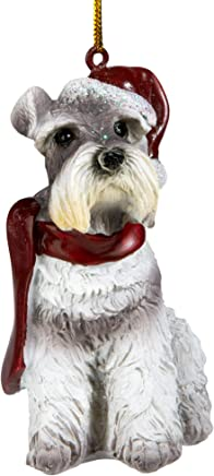 Design Toscano Mini Schnauzer Holiday Dog Ornament Sculpture, Full Color