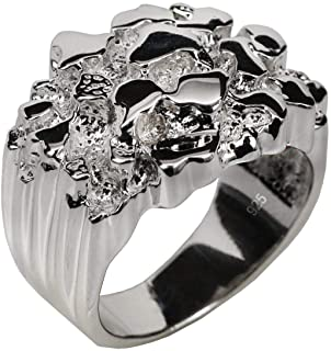 Solid 925 Sterling Silver Men's Silver Ring - Nugget Ring...