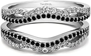 TwoBirch Sterling Silver Black and White Cubic Zirconia Double Infinity Wedding Ring Guard Enhancer with Black and White Cubic Zirconia (0.49 ct. tw.)
