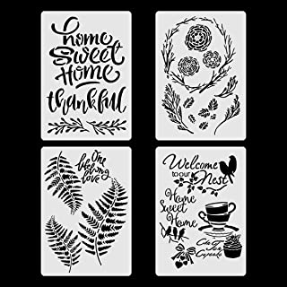4 Set Sweet Home Stencils with Leaves and Flower, Farmhouse Art Templates for Home Wall Decor Painting Wood Signs