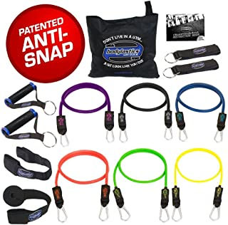 bodylastics Resistance Bands Set with Patented Anti-Snap Elastics, Patented Clips, Upgraded Handles, Door Anchor, Legs, Wr...