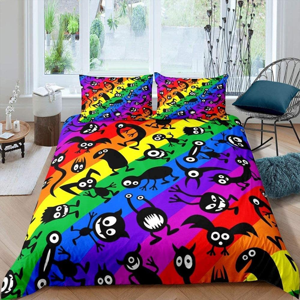 Attention brand Duvet Cover Queen Size Cartoon Bedd Soft Pictures Breathable Spasm price and
