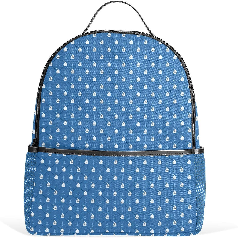 Fashion Backpack Anchor Sailboat Shape bluee Small Satchels Daypacks Travel Shoulder Bag Rucksack for Girls