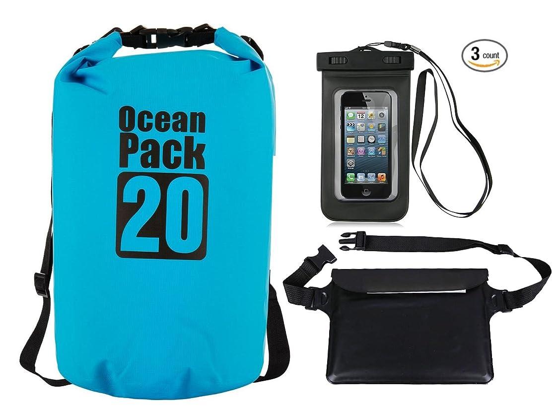 手がかり薬抵抗するAzuki防水ドライバッグ+防水ウエスト袋+防水電話ケース三層構造スーツ2?–?30l