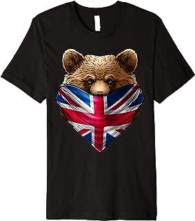 England UK Flag California Bear Wearing British Flag Bandana Premium T-Shirt