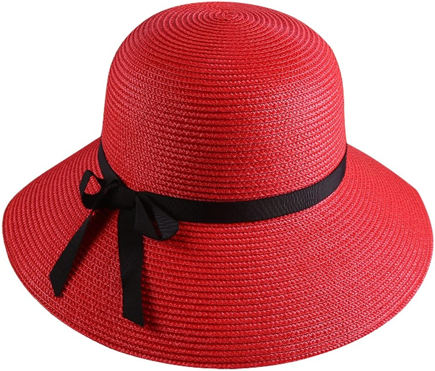 Hat Female Spring and Summer Classic Seaside Sun Hat Collapsible Hat Visor Hat (color   RED)