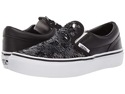 Vans Kids Classic Slip-On (Little Kid/Big Kid) ((Flipping Sequins) Checkerboard/Black) Girls Shoes