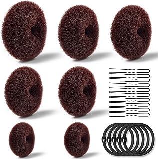 Donut Bun Maker, TsMADDTs Hair Ring Style Bun Maker Set with 7pcs Hair Bun Makers 5pcs Hair Elastic Bands 20pcs Hair Pins Dark Brown