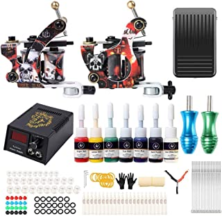 Go1nTattoo Complete Tattoo Machine Kit for Beginners with Tattoo Machine Tattoo Needles Tattoo Power Supply Foot Pedal Swi...