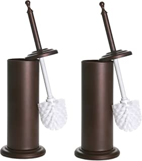 Home Intuition Bronze Toilet Brush and Holder, 2 Pack