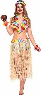 JZK 5X Hawaii Party Kostüm Set, Hula Rock + Blume Stirnband + 2 Blumen Armband + Halskette Girlande, Mädchen Frauen Zubehör für Hula Luau Party, Einheitsgröße