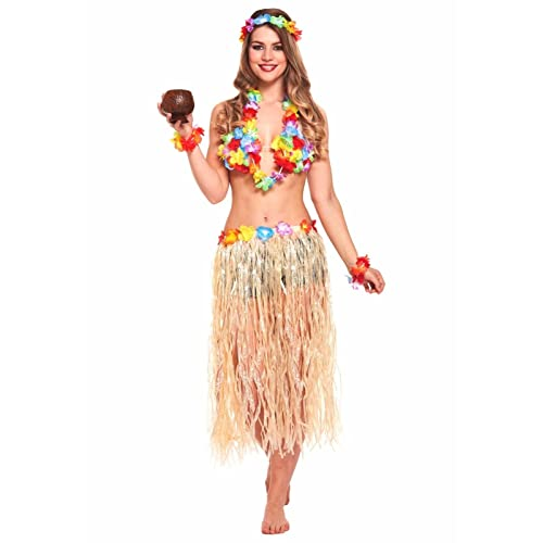 0e21906f381 JZK 5 in 1 Hawaiian party fancy dress costume set hula skirt flower  headband bracelet lei