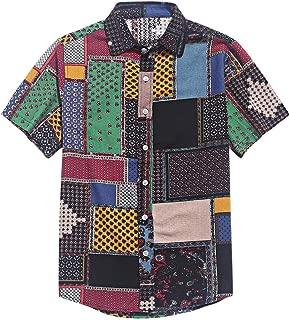 CHARMMA ZAFUL Men's Casual Ethnic Tribal Geometric Floral Paisley Print Short Sleeve Shirt