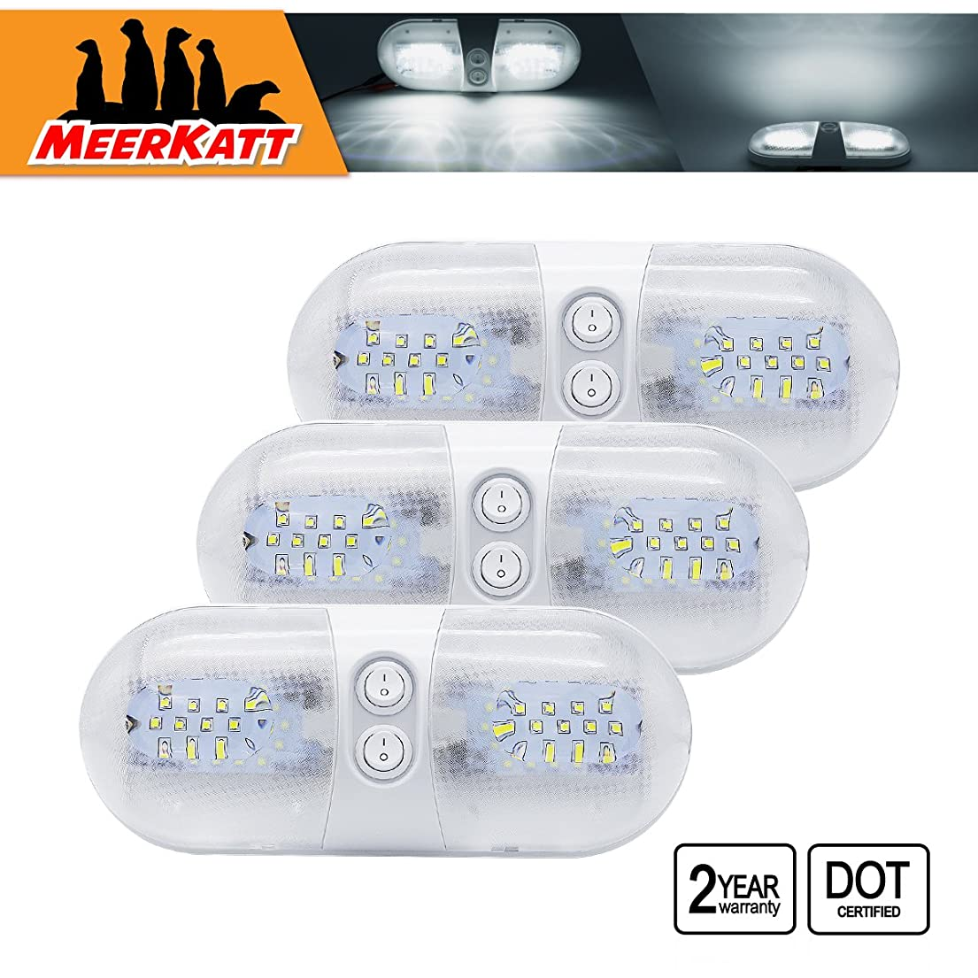 Meerkatt Oval 11 Inch Ceiling Double Dome 420LM Universal Fixture Bulb Interior Lights 48 LED 2835 SMD Van Caravan RV SUV Camper Boat Bus with Switch 12-18v DC Natural White 4000-4500k (Pack of 3) TR hrizj4210898582