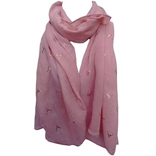 68a12dc07 GlamLondon Stag Scarf Rose Gold Glitter Foil Deer Reindeer Stags Print  Ladies Party Christmas Wrap
