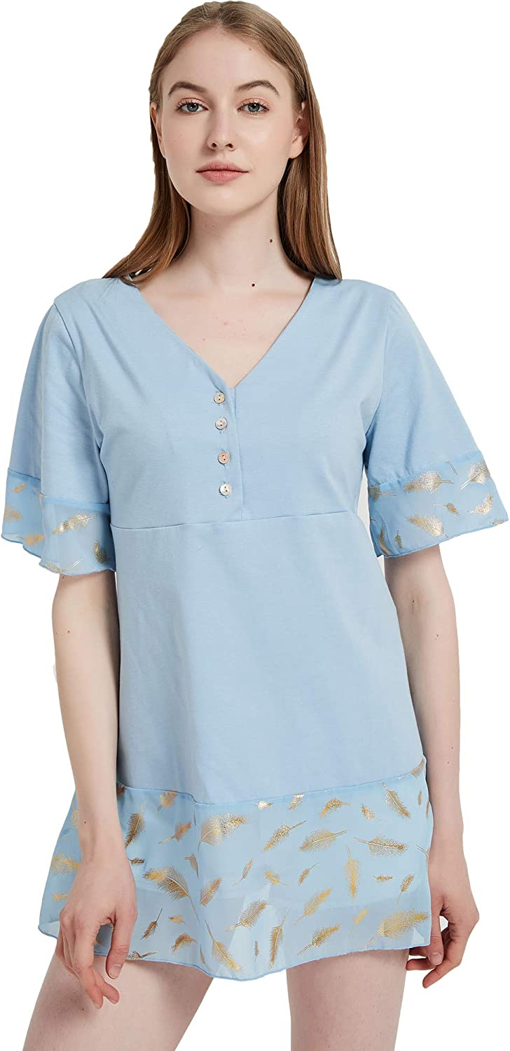 S.CHARMA Womens Summer Short Sleeve V Tunic Button It is New product!! very popular Up Tops Neck