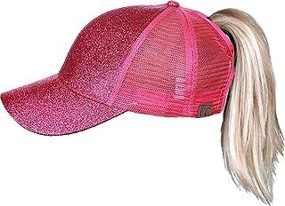 Funky Junque c.c de la mujer del alto Ponytail Messy Bun Glitter Trucker-Gorra Béisbol