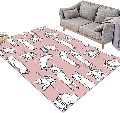 長方形エリアラグリビングルーム アクセントラグ 寝室の床の敷物 アクセントエリアカーペット 犬のピンクの白いパターン (Size : 120cm×185cm(4' x 6'))