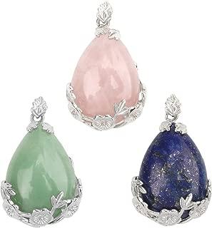 Wholesale 3 PCS Natural Quartz Crystal Pendant Teardrop Gem Chakra Stone Bulk for Jewelry Making