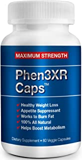 PHEN 3XR CAPS - Maximum Strength Appetite Suppressant - Weight Loss Diet Pills - Thermogenic Fat Burner - Great for Keto Diets