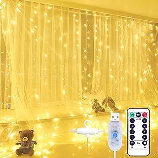 Yizhet Kurtyna świetlna, kurtyna świetlna 2 x 2 m, 200 diod LED, kurtyna, łańcuch świetlny, 8 trybów, kurtyna z pilotem zd...