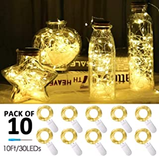 30 Micro LED 10 Pack 10ft Starry String Lights, Waterproof Firefly Moon Lights, Fairy Silver Copper Wire Lights Battery Operated, for DIY Party Christmas Wedding Easter Table Decorations(Warm White)