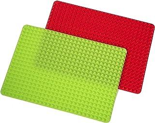 Growment Set de 2 tapis de cuisson antiadhésif TüRkei pour chien - Rouge et vert