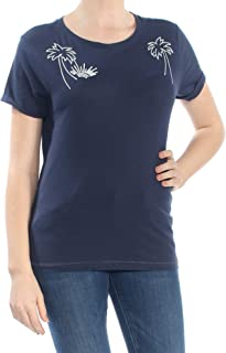 Lucky Brand Womens Embroidered Short Sleeves Graphic T-Shirt