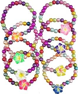 8 Pcs Rainbow Flower Bracelet Little Princess Jewelry Stretch Colorful Candy Bracelet for Children Kids Play Pretend Dress Up