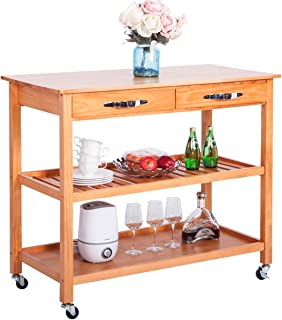 LZ LEISURE ZONE Kitchen Island Cart with Wheels, Drawers & Shelves Storage Shelf (Natural)