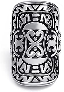 Mens Stainless Steel Ring Silver Warrior Shield Jewelry US Size 7-13