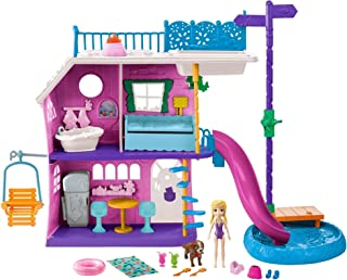 Mattel Polly Pocket Lil' Lake House with 2 Stories, Slides, Lake Accessories, Living Accessories, 3-inch Polly Doll and He...